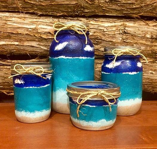 Mason Jar Office Organizer, Beach Mason Jar Desk Set, Beach Mason Jar  Bathroom Set