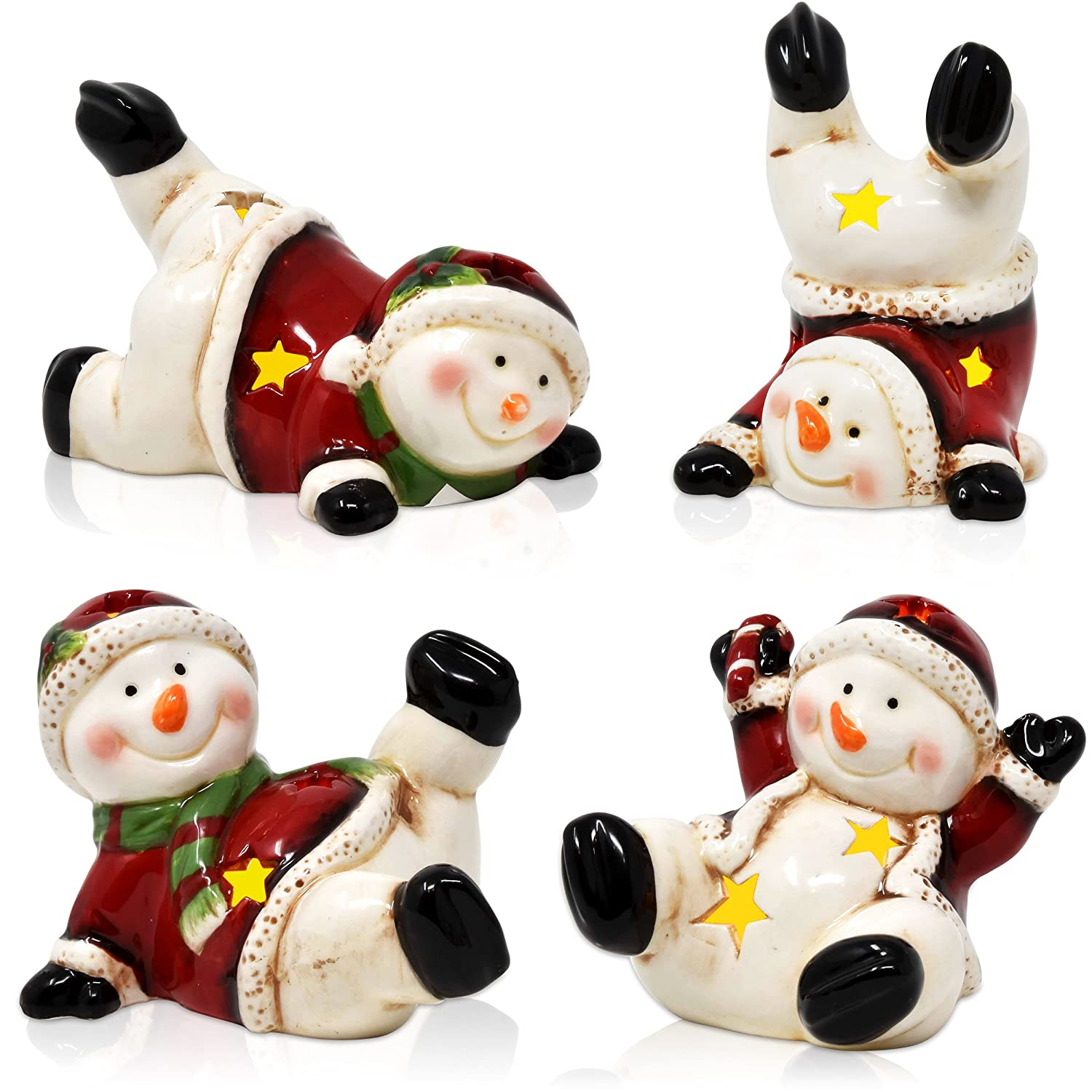 Gift Boutique Snowman Decorations Christmas- Mini 3 Set of 4 Assorted Led Light Up Winter Holiday Snowmen Figurines Table Decor
