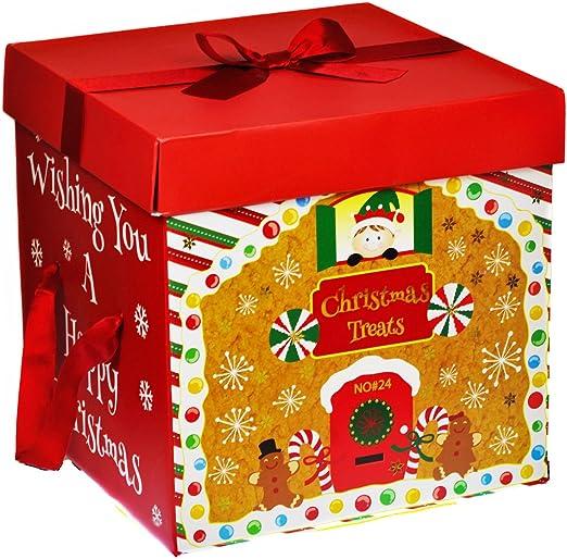 Red Ribbon - Caja de regalo grande, diseño navideño, con asas ...