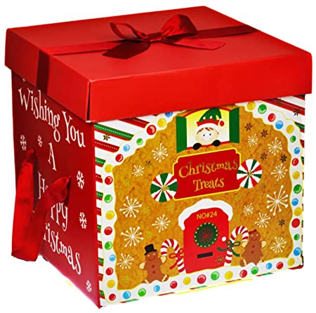large premium christmas eve gift box lid ribbon handles xmas present wrapping red