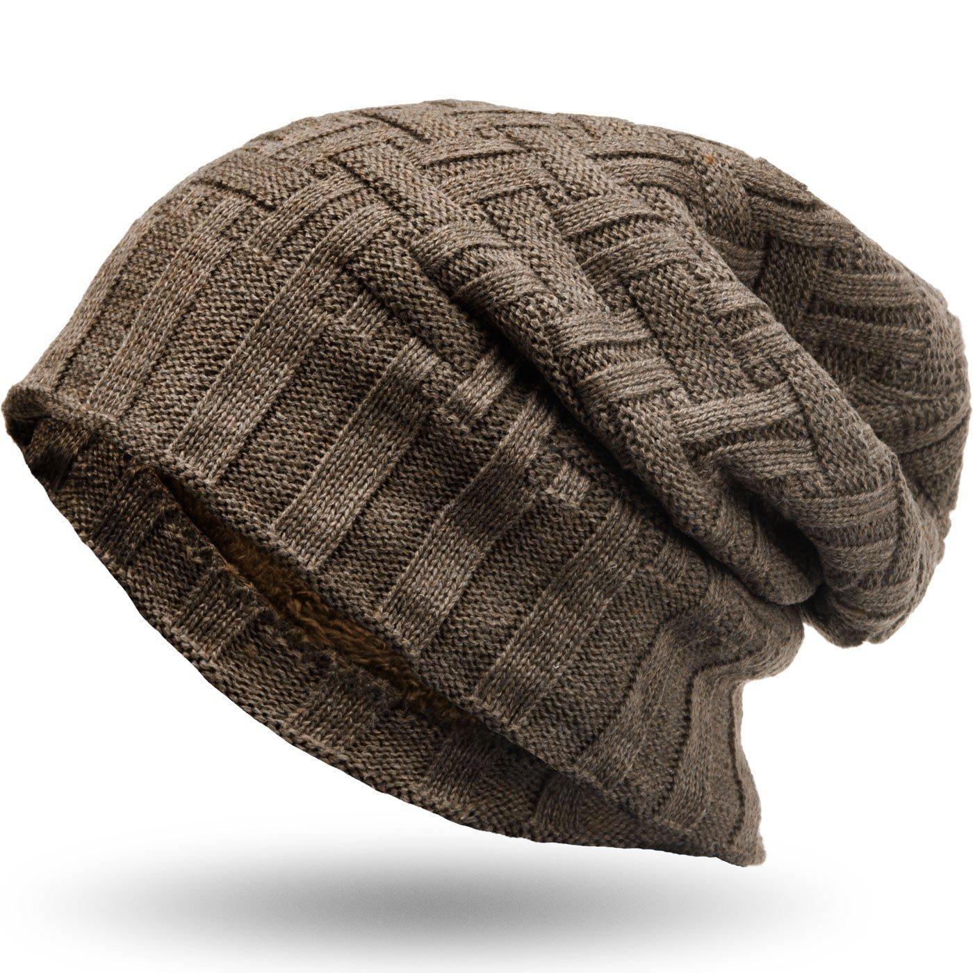 Compagno caldo berretto foderato berretto invernale beanie modello  intessuto con soffice fodera interna in pile c1b0e5633bd2