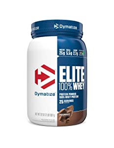 Dymatize Elite 100% Whey Protein Powder, Take Pre Workout or Post Workout, Quick Absorbing & Fast Digesting, Rich Chocolate, 2 Pound