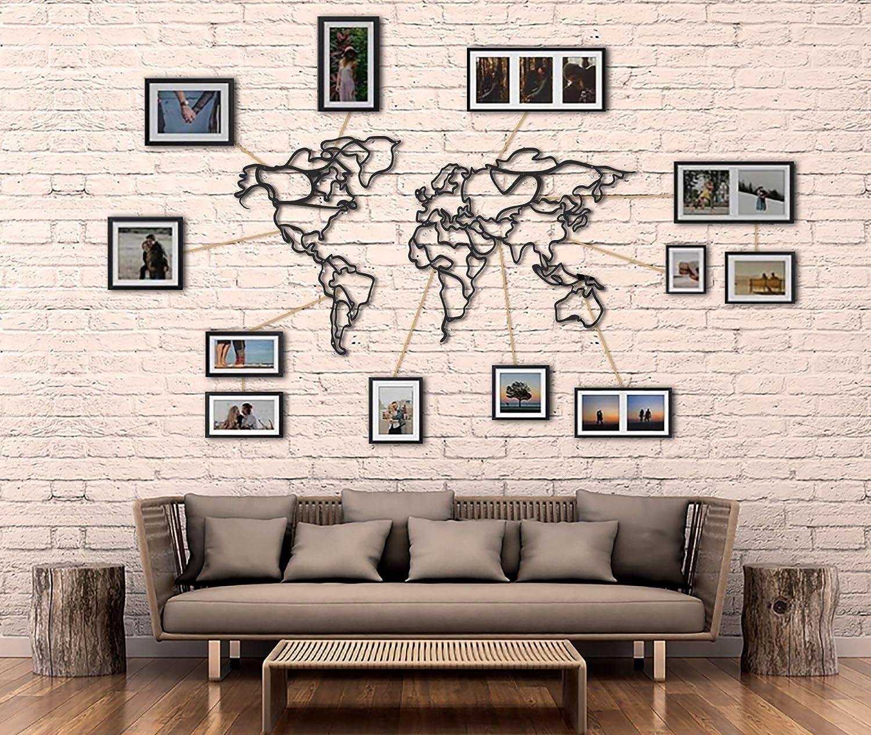 Amazon.com: Tubibu Decorative%100 Metal World Map Wall Decor, Home Office  Decoration, Bedroom Living Room Decor Sculpture (43.3 x 23.6 inch):  Everything Else