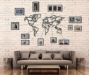 Tubibu Decorative%100 Metal World Map Wall Decor, Home Office Decoration, Bedroom Living Room Decor Sculpture (43.3 x 23.6 inch)