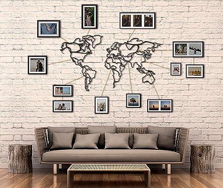 Tubibu - Mapamundi decorativo %100 de metal, decoración de pared, decoración de la oficina del hogar, dormitorio, sala de estar, escultura (110 x 60 cm): Amazon.es: Hogar