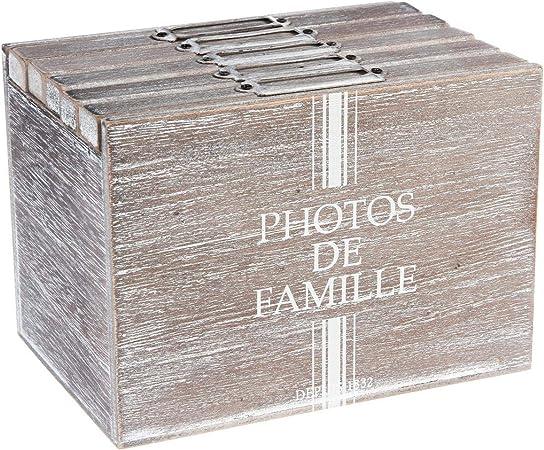 Álbum de fotos caja de almacenamiento - Espíritu Rural - Color MADERA Desgastada: Amazon.es: Hogar