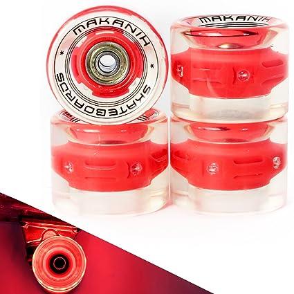 4 makanih® LED Bombilla Tarjeta ruedas para Penny Skateboard Minicruiser City 60 * 45 MM