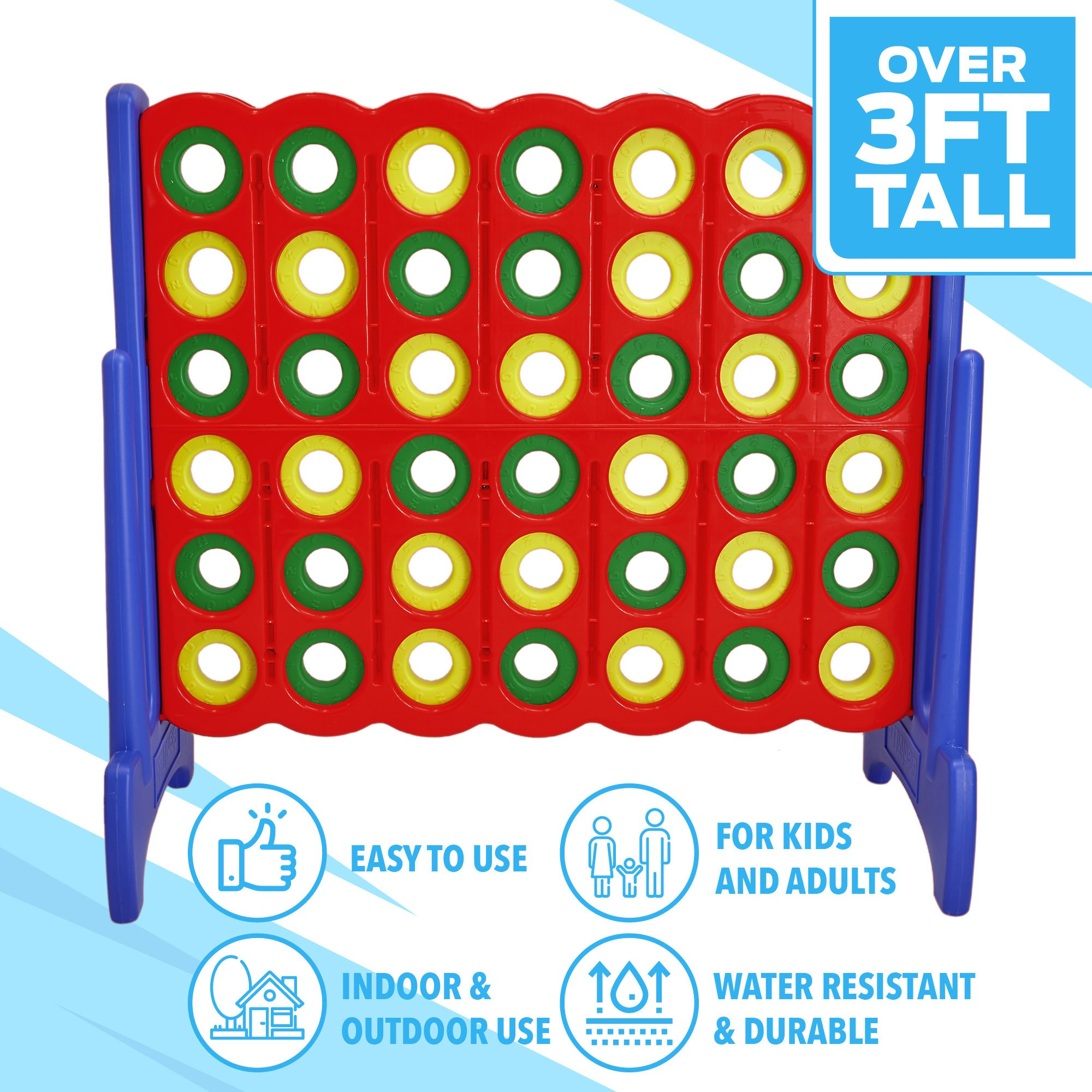 Giant 4 in a Row Connect Game - 4 Feet Wide by 3.5 Feet Tall Oversized Floor Activity for Kids and Adults - Jumbo Sized for Outdoor and Indoor Play - by Giantville, Blue/Red by Giantville (Image #3)
