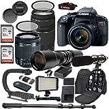 Canon EOS Rebel T7i DSLR Camera Bundle with Canon EF-S 18-55mm f/4-5.6 IS STM Lens + Canon EF 75-300mm f/4-5.6 III Lens + 500mm f/8 Preset Lens + Accessory Kit