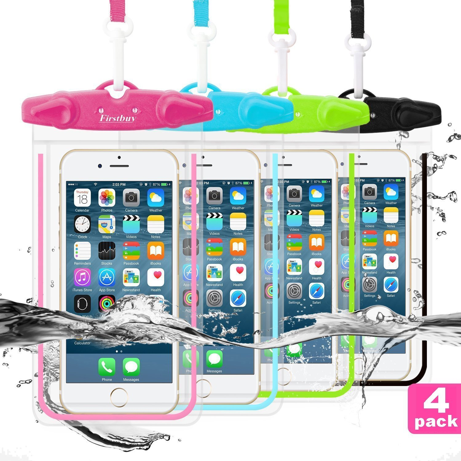 LENPOW Waterproof Phone Case, 4 Pack Universal Waterproof Pouch Dry Bag with Neck Strap Luminous Ornament for Water Games Protect iPhone X 8 7 6 6s Plus 5s Galaxy S9 S8 Edge Note Google Pixel LG HTC by GLBSUNION