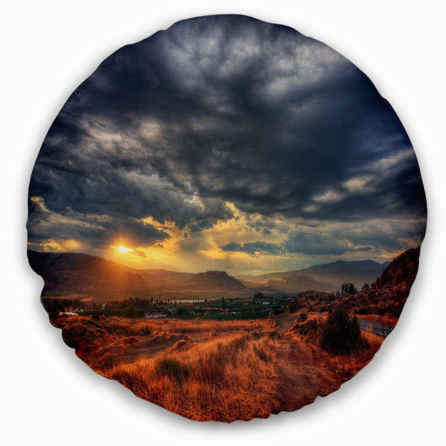 Designart CU14447-16-16-C Beautiful Sunrise in Osoyoos' Landscape Printed Round Cushion Cover for Living Room, Sofa Throw Pillow 16', Insert Side