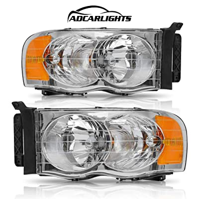 Headlight Assembly for Dodge Ram Pickup Truck 2002 2003 2004 2005/1500 2500 3500,Replacement Headlamps Chrome Housing with Amber Reflector Clear Lens (Passenger and Driver side): Automotive