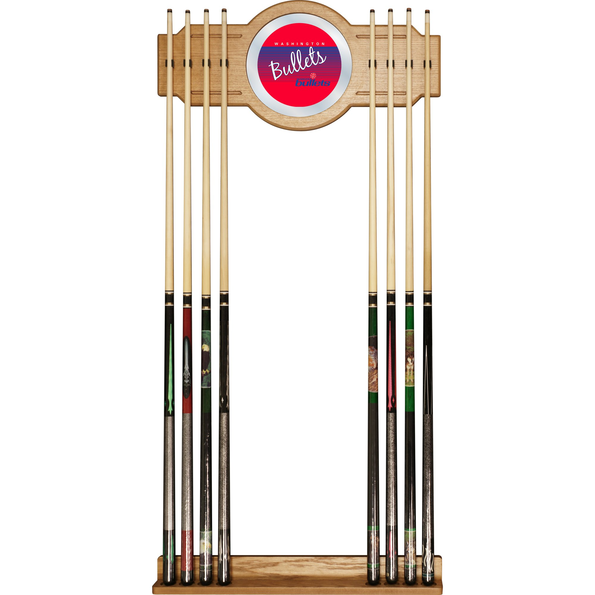 NBA Washington Bullets Cue Rack with Mirror, One Size, Brown