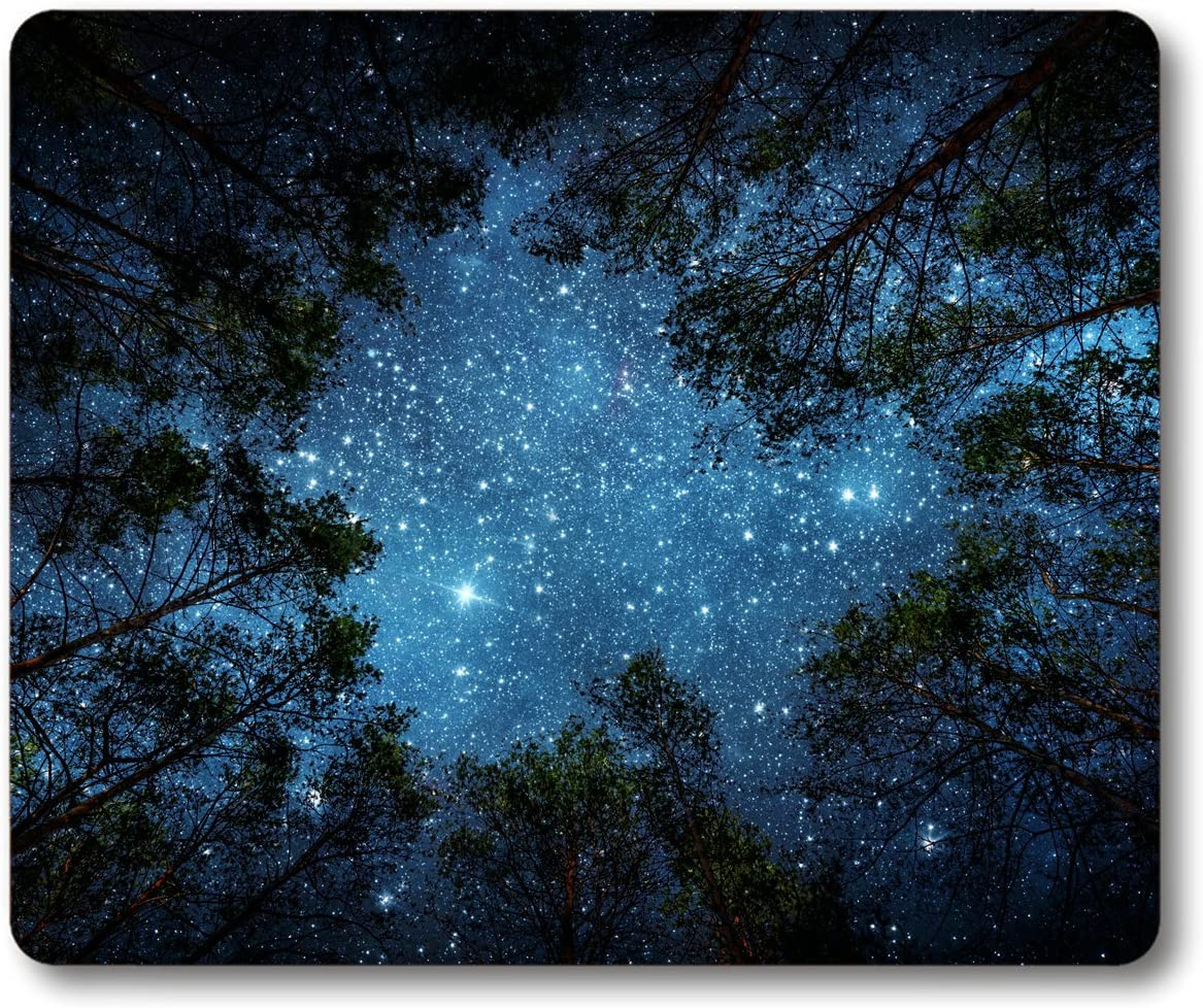 Smooffly Beautiful Night Sky Mouse Pad, The Milky Way and The Trees Mouse Pad,Sublime Forest Nature View Rectangle Non-Slip Rubber Mousepad Gaming Mouse Pad