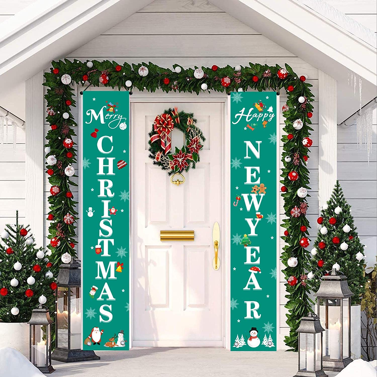 MUSEMET Welcome Christmas Banners, Merry Christmas & Happy New Year Xmas Decor Hanging Couplets with Santa Bell Snowflake Pattern for Front Door, Porch, Indoor, Home, New Year Welcome Signs (Green)