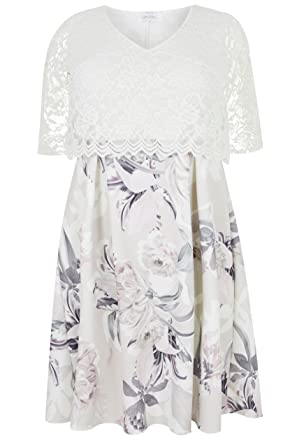 fffa729849d Yours Women s Plus Size London White   Grey Floral Print Lace Overlay Midi Dress  Size 34