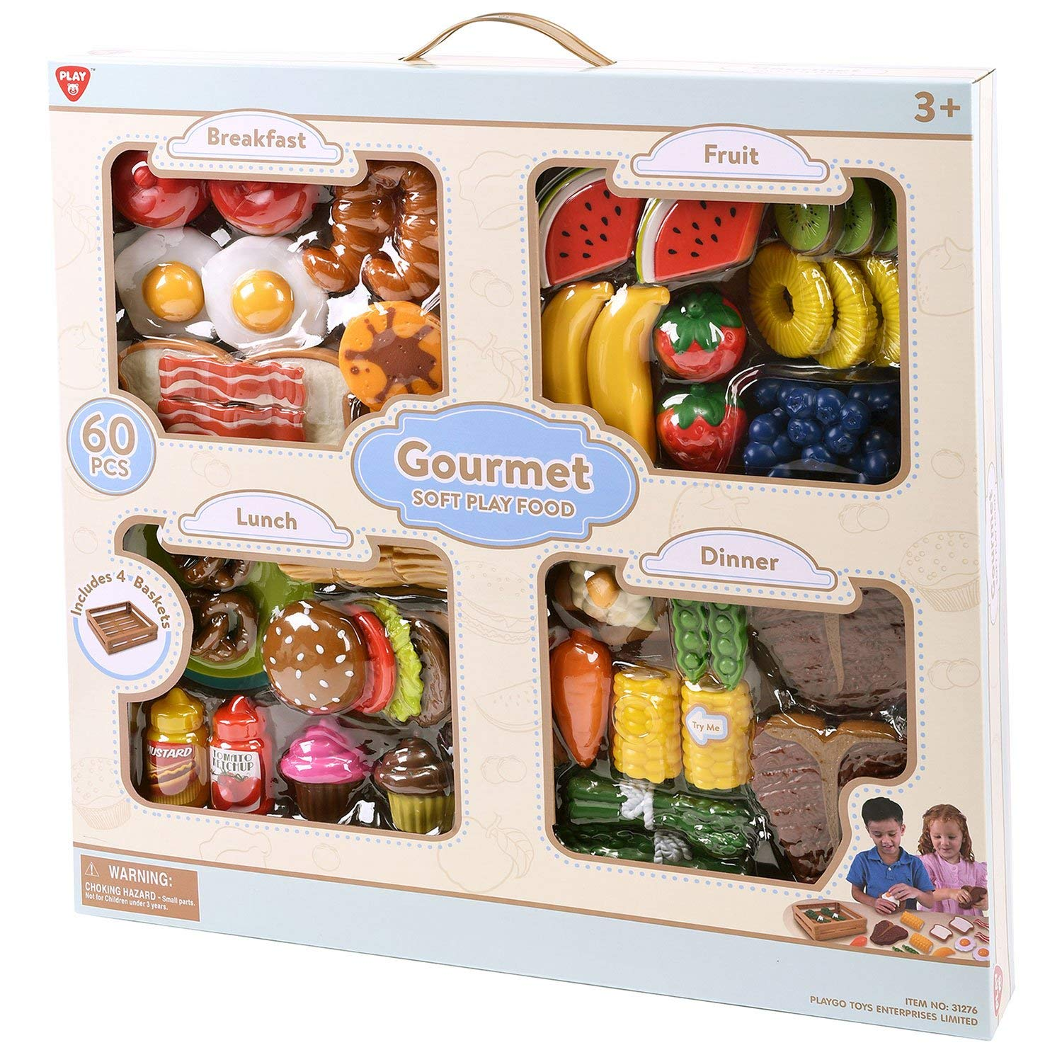 PlayGo Toys - Gourmet Soft Play Food - Breakfast, Lunch, Dinner, and Fruit - Includes 4 Baskets!