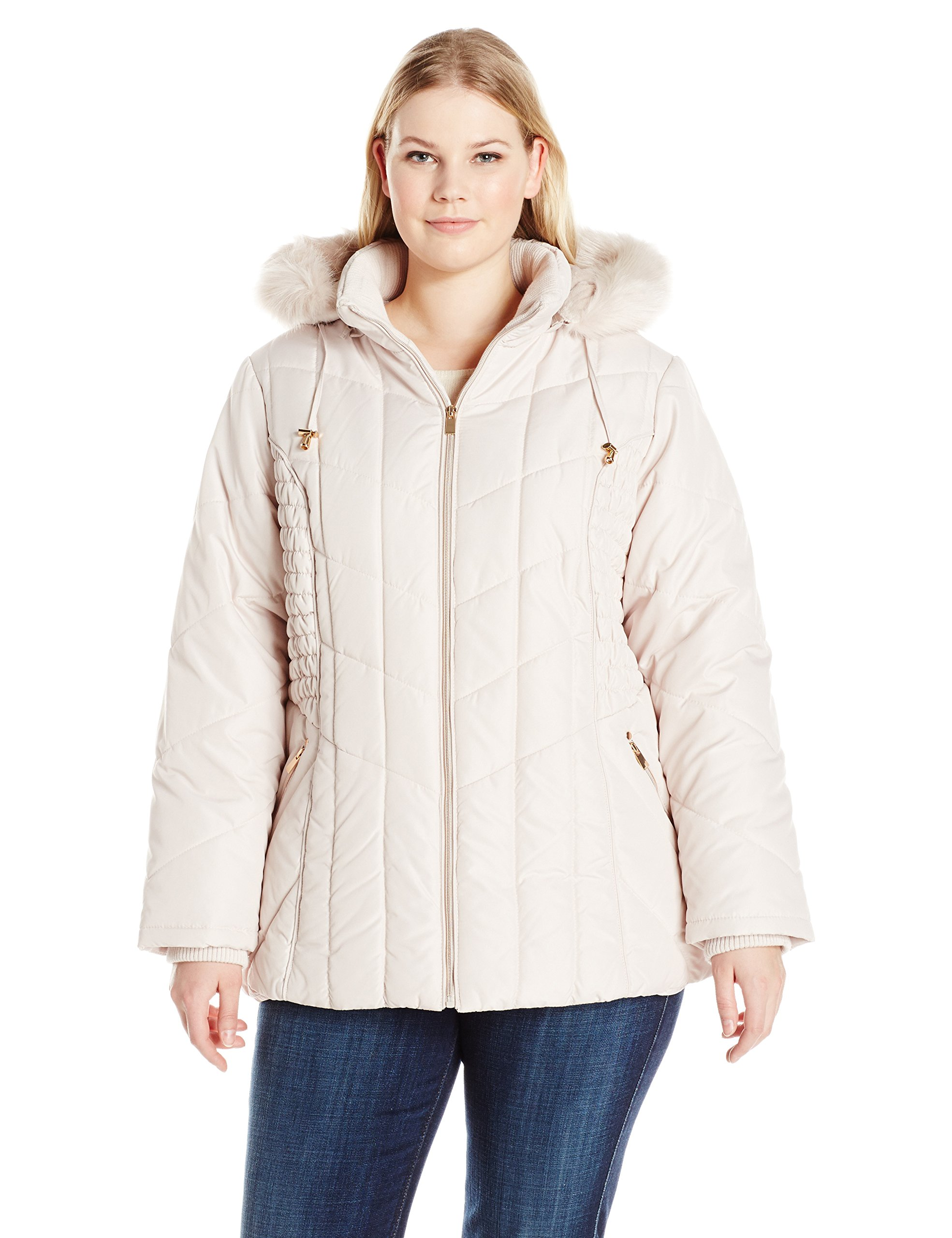 06b7b6fe52407 Galleon - Details Women s Plus Size Puffer Coat With Braided Rouched Side