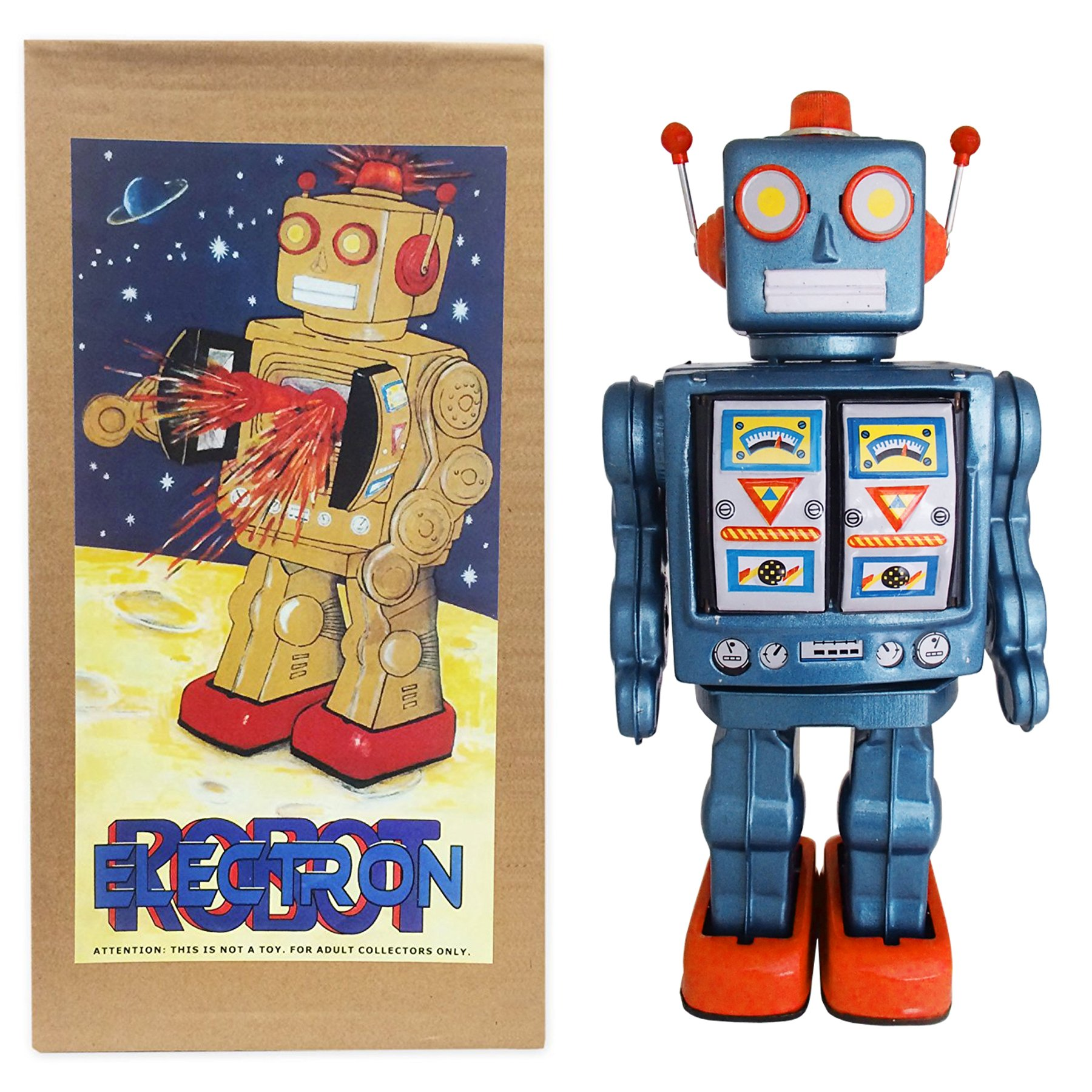 Mr. D Cell Shiny Blue and Red Vintage Style Collectible Electron Robot with Gold Chest