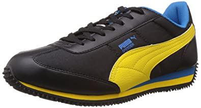 4507f4a31e58d1 Puma Men s Speeder Tetron II Ind. Black-Dandelion-Blue Running Shoes - 11