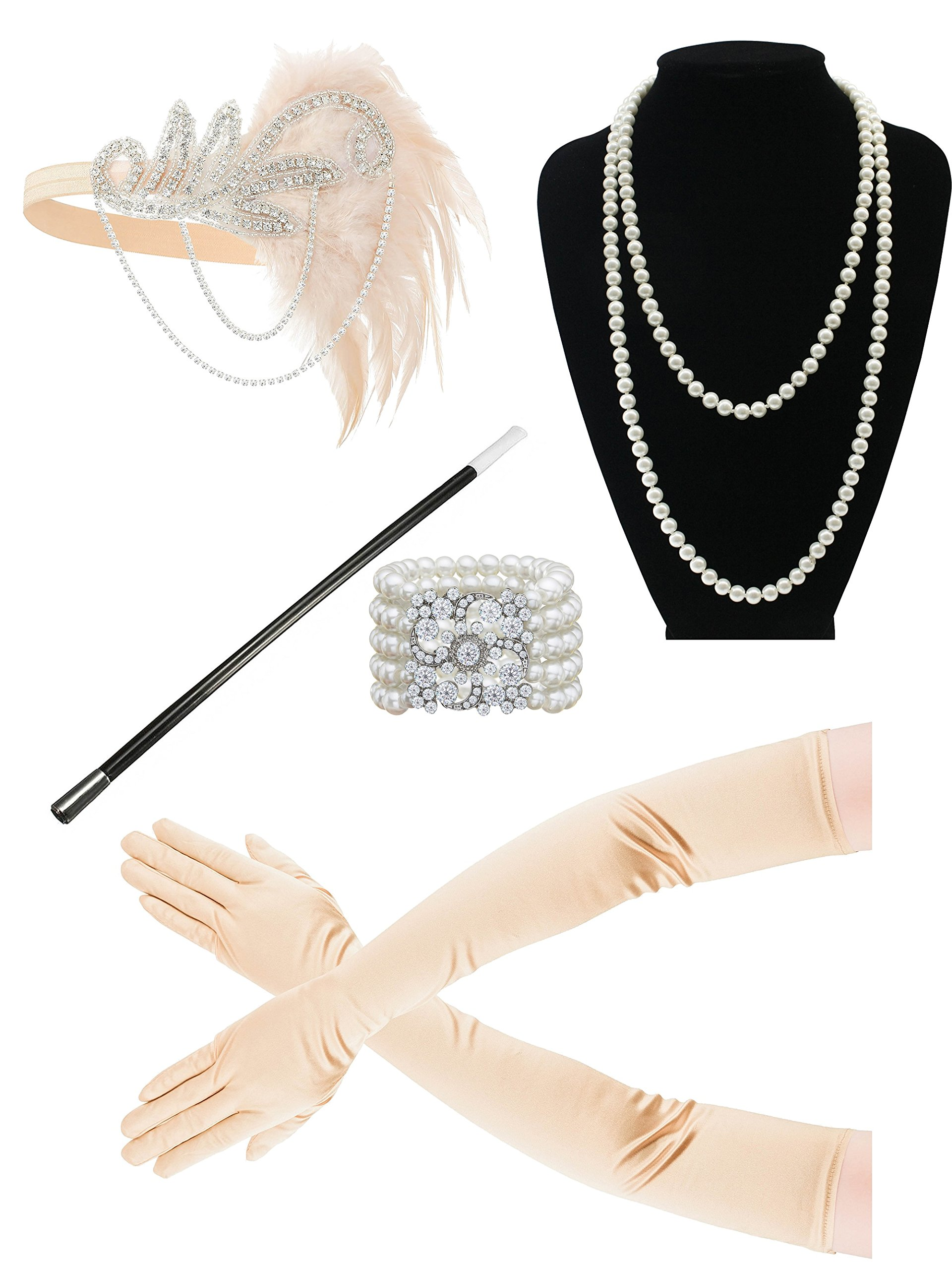 1920s Gatsby Flapper Feather Headband 20s Accessories Crystal Beaded Wedding Headpiece (Set 1)