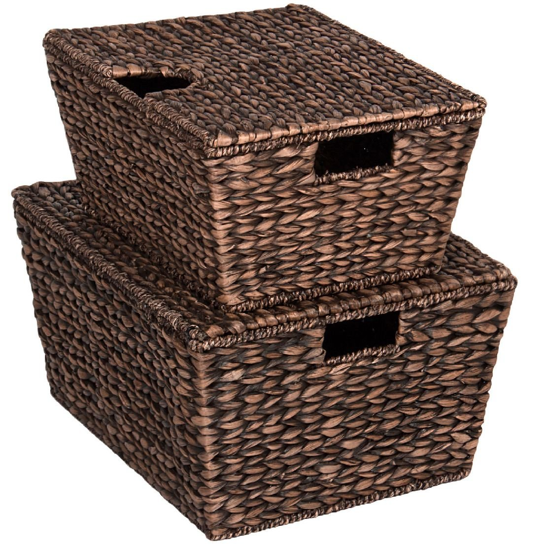 Set Of 2 Water Hyacinth Tapered Storage Basket Chests W/ Lid Brushed Espresso