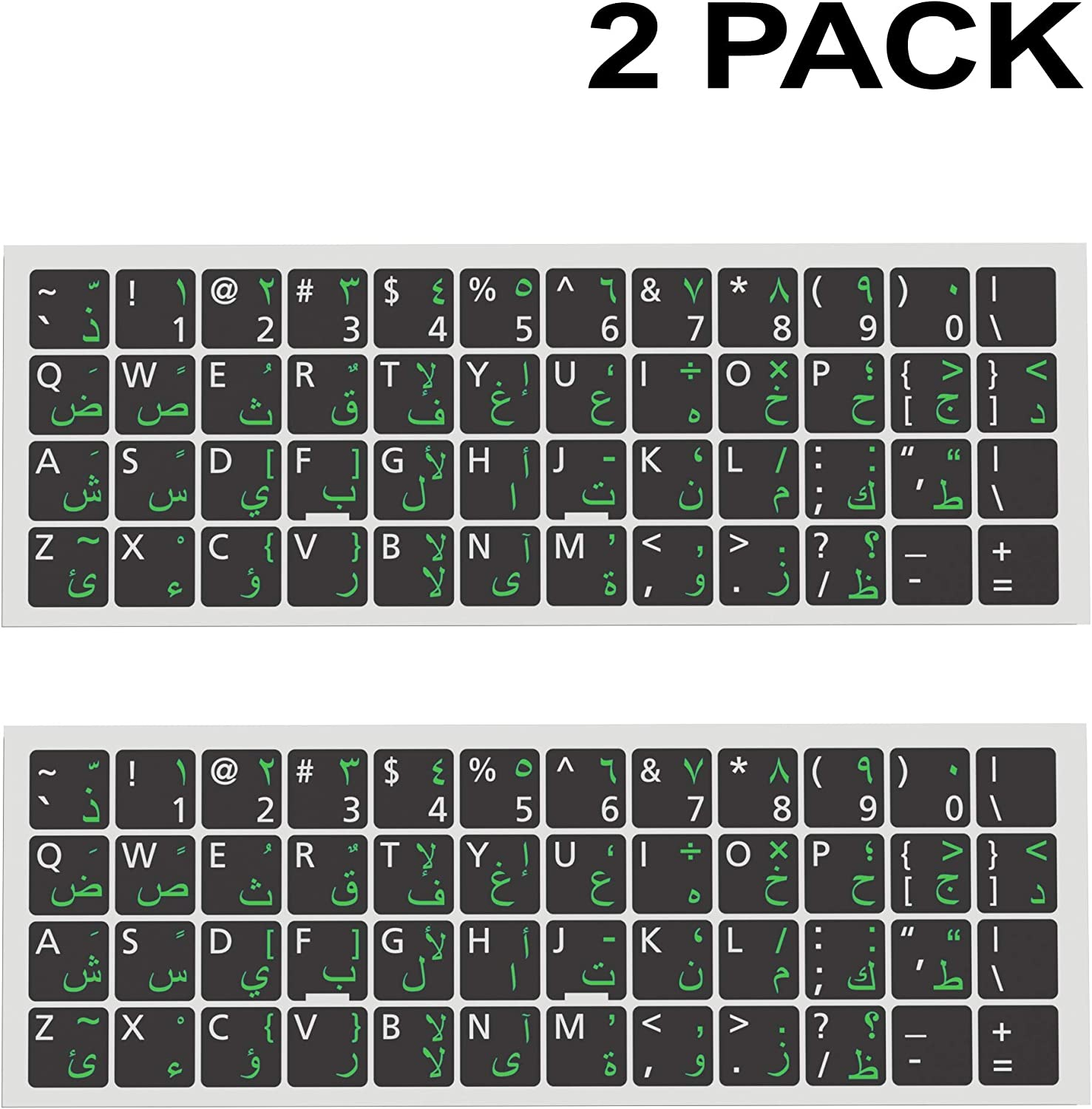 Universal English-Arabic Keyboard Stickers 2 PCS Replacement Ergonomic Cyrillic None Transparent PC Large Green Lettering Black Background for Notebook Desktop Computer Laptops (Arabic-WhiteGreen)