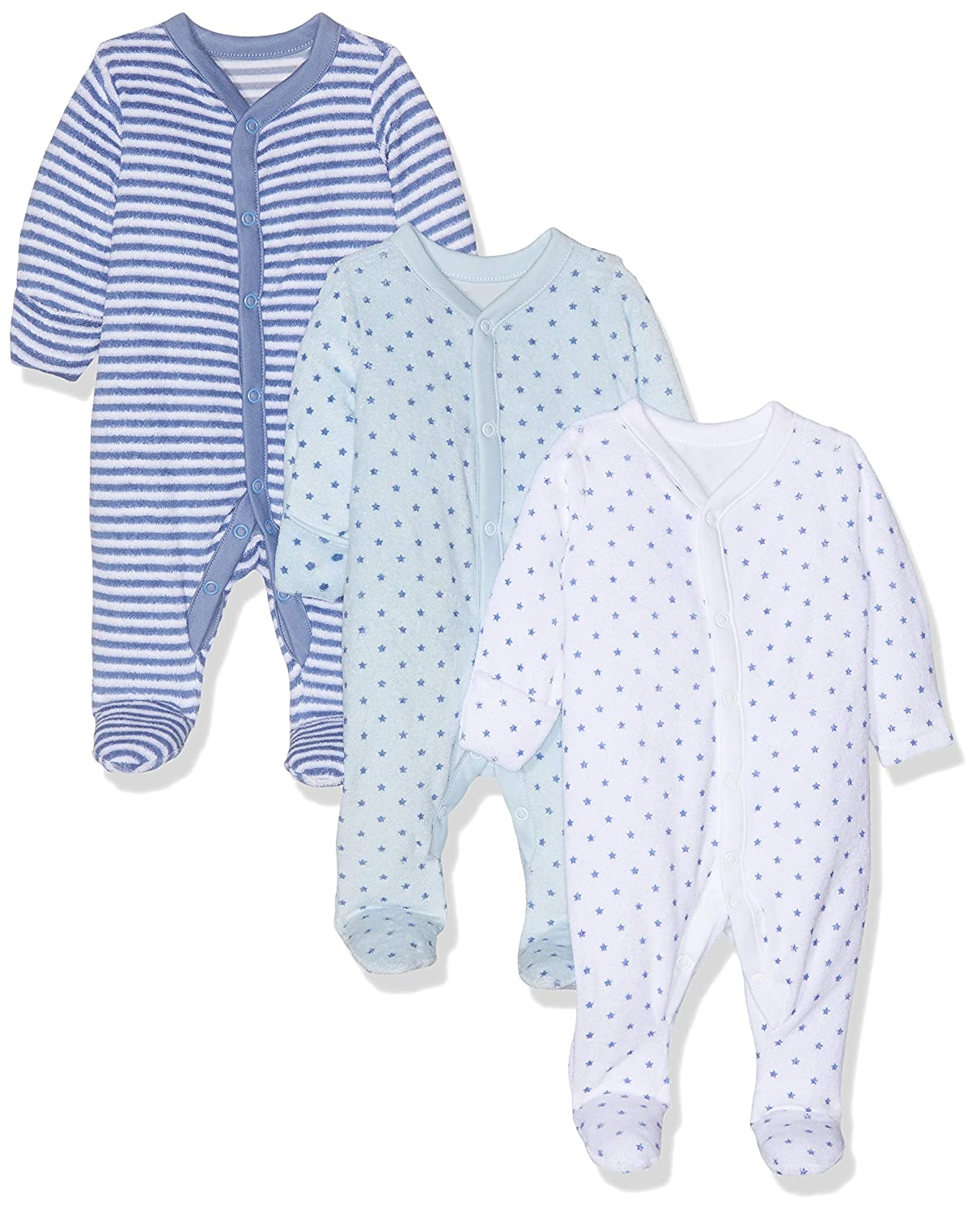 Body Mothercare Blue Towelling Sleepsuits B/éb/é gar/çon 3 Pack