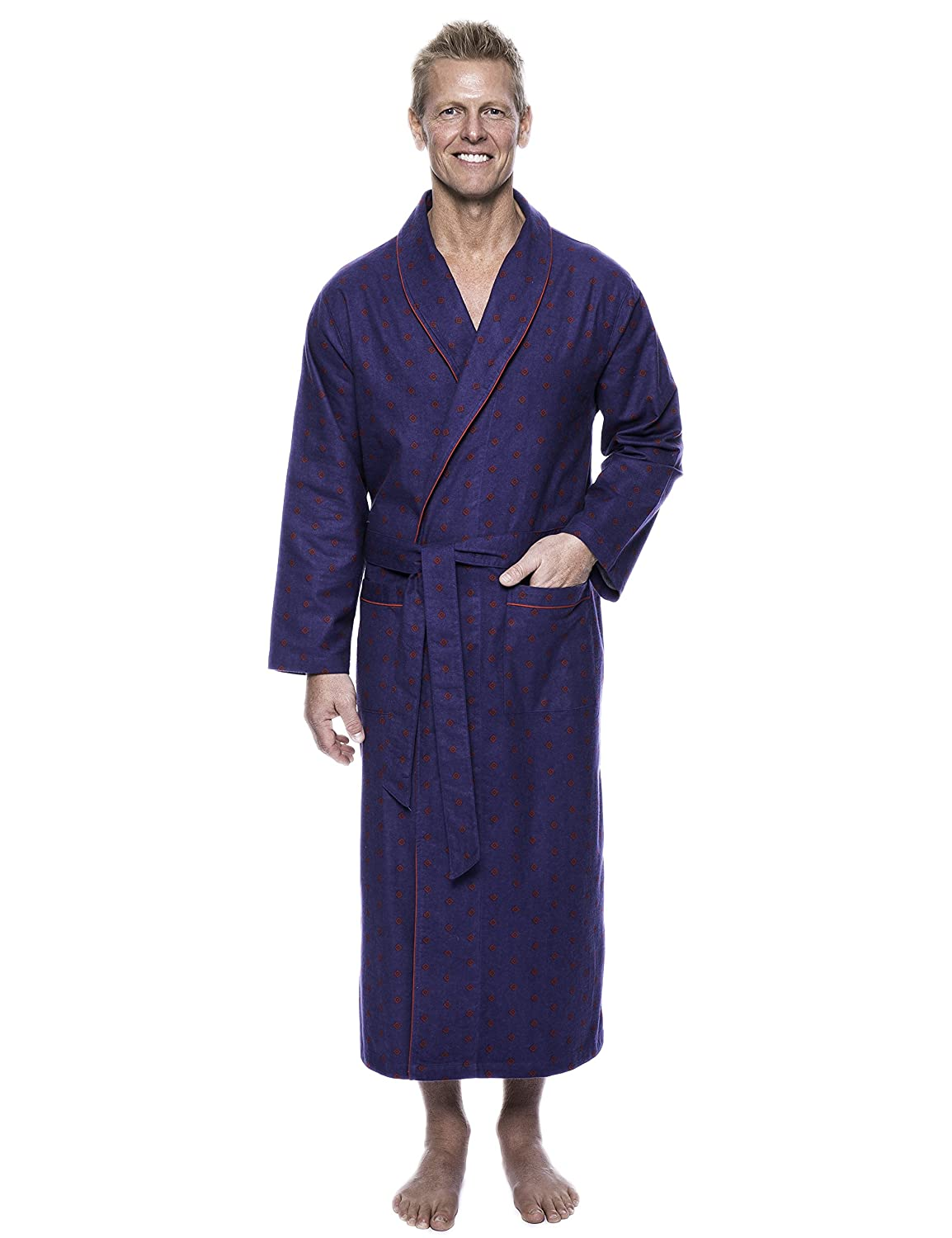 Twin Boat Men's 100% Cotton Flannel Long Robe twb_mn_fln_rbl