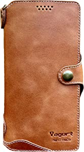 Yogurt Case for iPhone 8 Plus, Case for iPhone 7 Plus, Genuine Leather Wallet Handmade Compatible with iPhone 8 Plus/7 Plus 5.5 Inch Brown