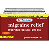 A+ Health Ibuprofen Migraine 200 Mg Softgels, Pain Reliever (NSAID), Made in USA, 80 Count