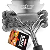 "GRILLART Grill Brush Bristle Free - Safe BBQ Cleaning Grill Brush and Scraper - 18"" Best Stainless Steel Grilling Accessories Cleaner for Weber Gas/Charcoal Porcelain/Ceramic/Iron/steel grill Grates"
