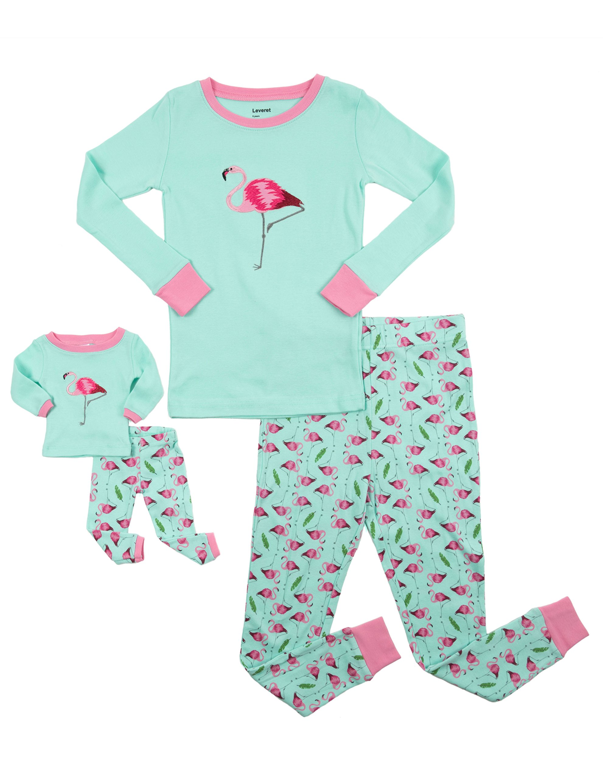 Leveret Matching Doll & Girl Flamingo 2 Piece Pajama Set 100% Cotton Size 10 Years