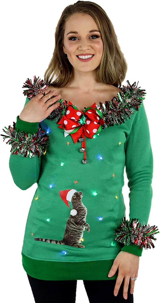 Light Up Christmas Sweaters with Cats, Ugly Christmas Sweaters for the Holidays Womens Cat Sweater with lights