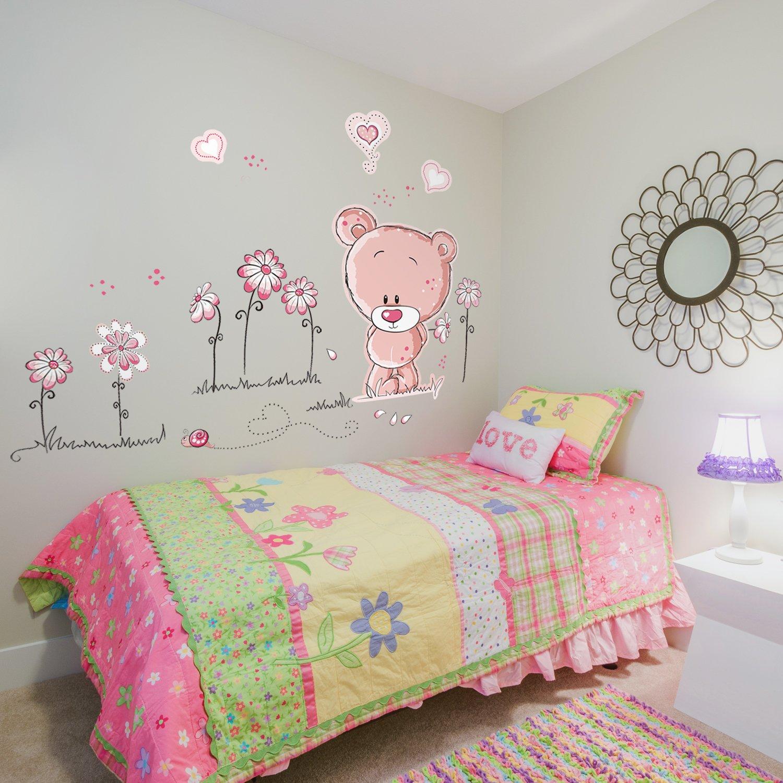 Walplus Stickers muraux pour chambre de bébé Ours en peluche Rose ...