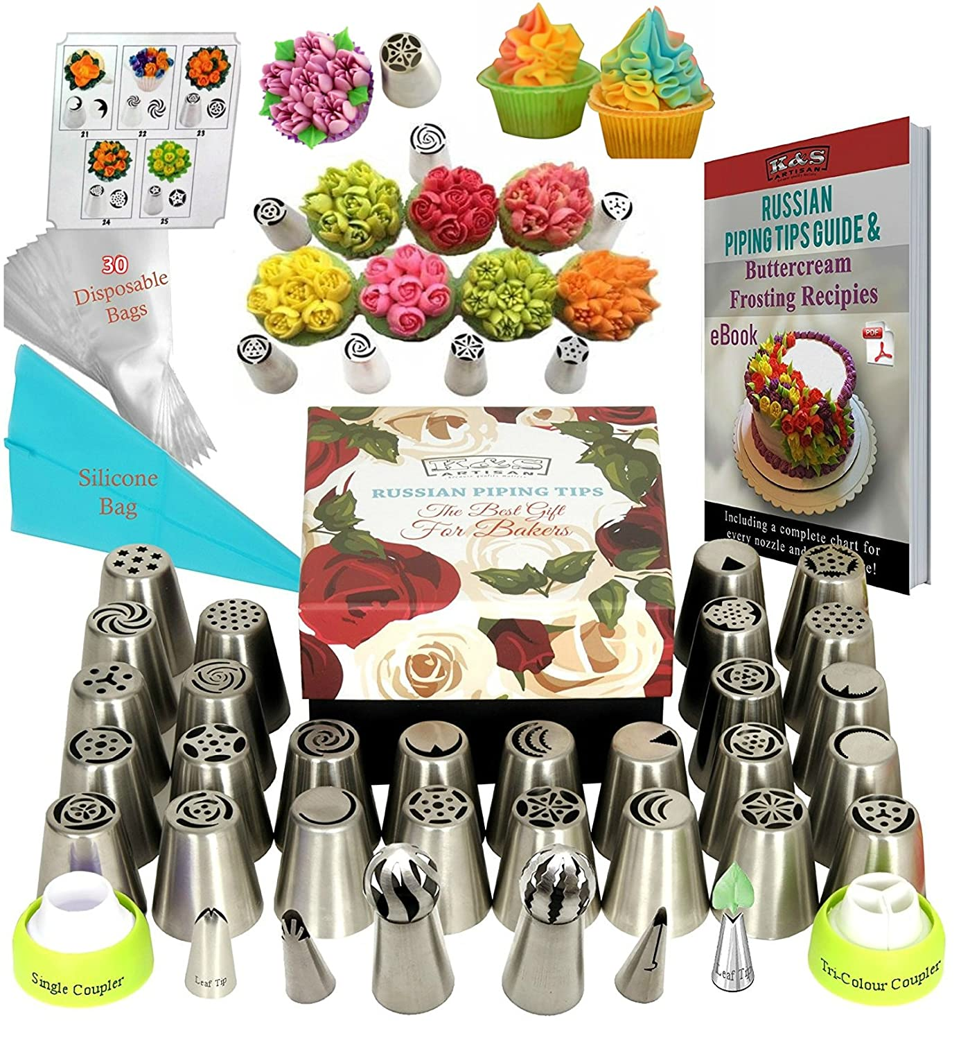 Amazon Russian Piping Tips 66 Pcs Icing Frosting Tips Cake