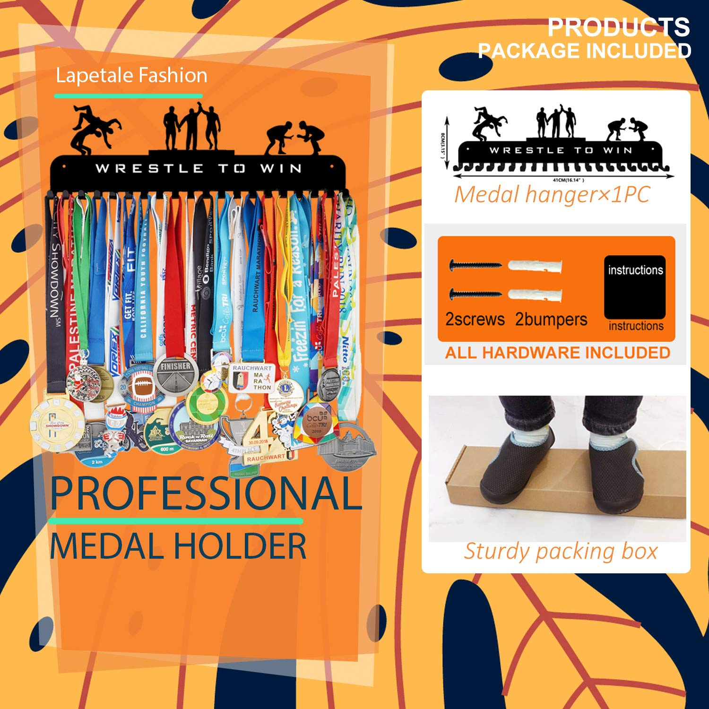 Race Medal Display Holder,WRESTLE TO WIN BOY Medal Holder 20pcs Hooks rack display Wresting Medal Hanger Holder Display Rack for Medals Application for Sports PremiumBlack Steel Medal Hanger Holder