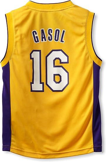 OuterStuff Camiseta de NBA de Los Angeles Lakers de PAU Gasol, Infantil Niños, Dorado: Amazon.es: Ropa y accesorios