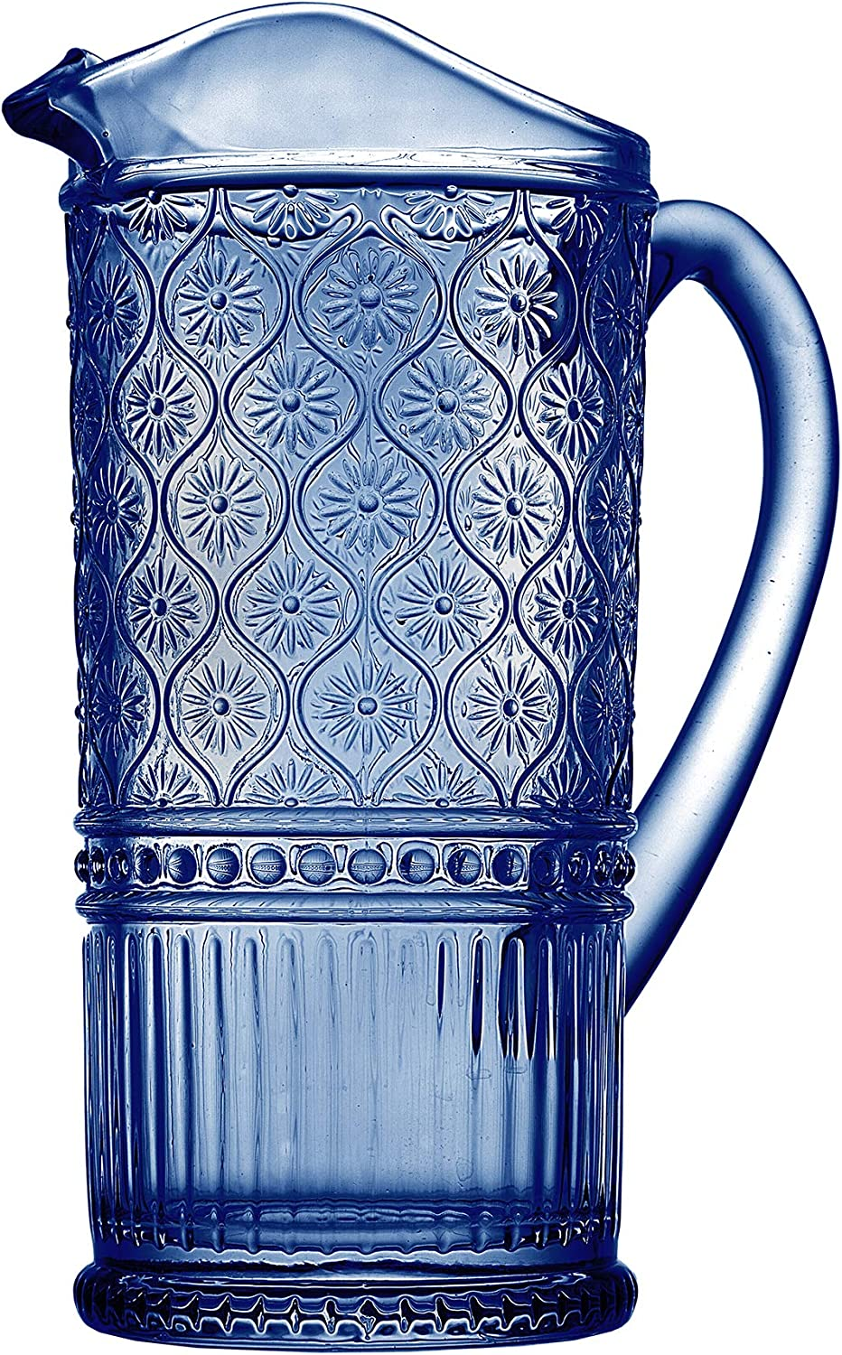 Claro by Godinger Beverage Pitcher Water Jug, Juice and Iced Tea Beverage Carafe - Blue