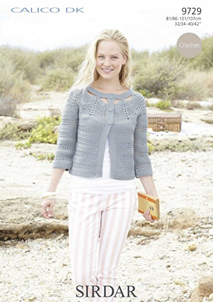 Sirdar Ladies Calico Dk Cardigan Crochet Pattern 9729 Amazon
