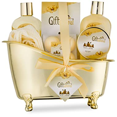 Spa Gift Basket with Sensual Rose & Jasmine Fragrance - Best Graduation, Wedding, Anniversary, Birthday Gift for Women and Girls - Spa Gift Set Includes Shower Gel, Bubble Bath, Bath Bombs and More!