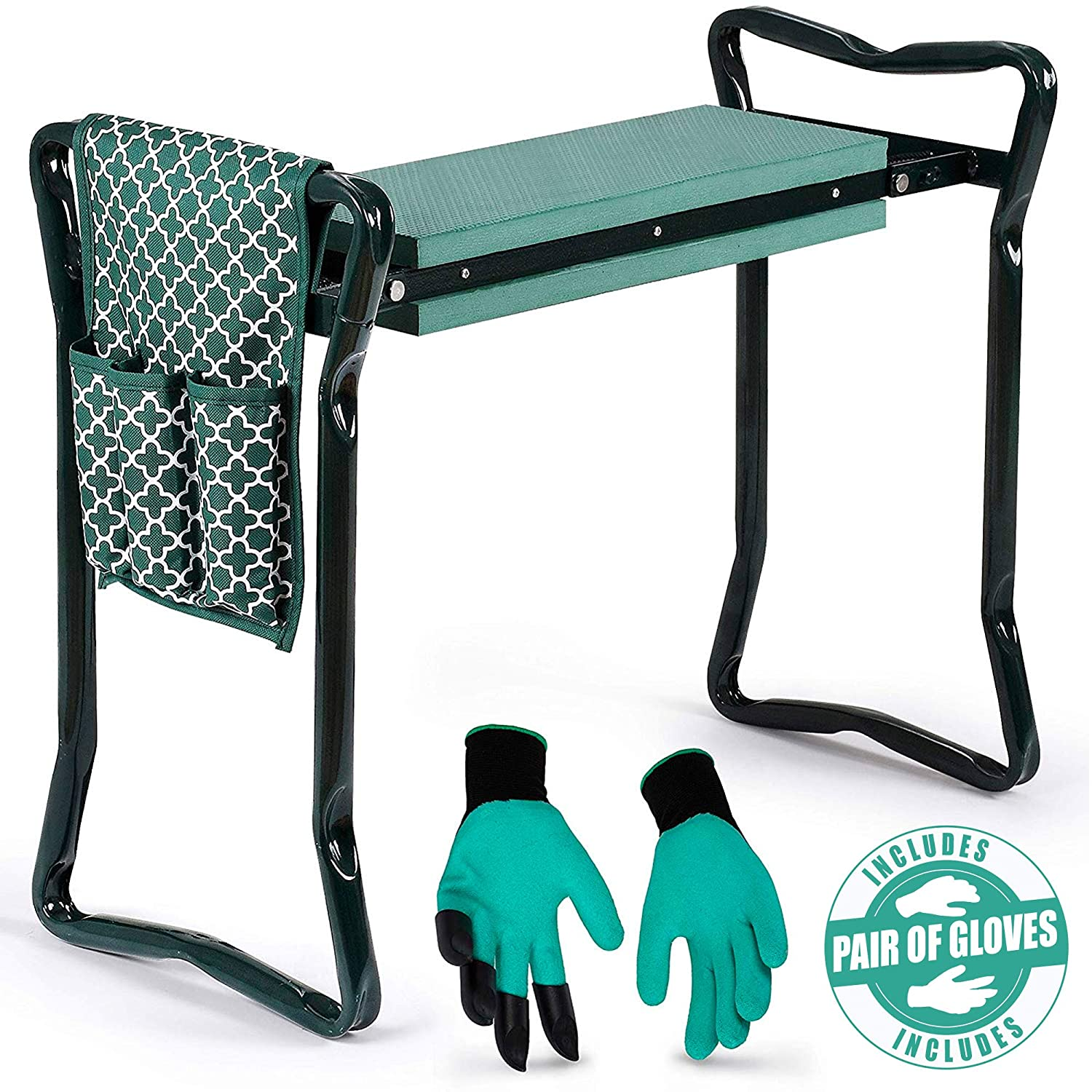Garden Kneeler And Seat – Protects Your Knees, Clothes From Dirt Grass Stains – Foldable Stool For Ease Of Storage – EVA Foam Pad – Sturdy and Lightweight – Bench Comes With A Free Tool Pouch