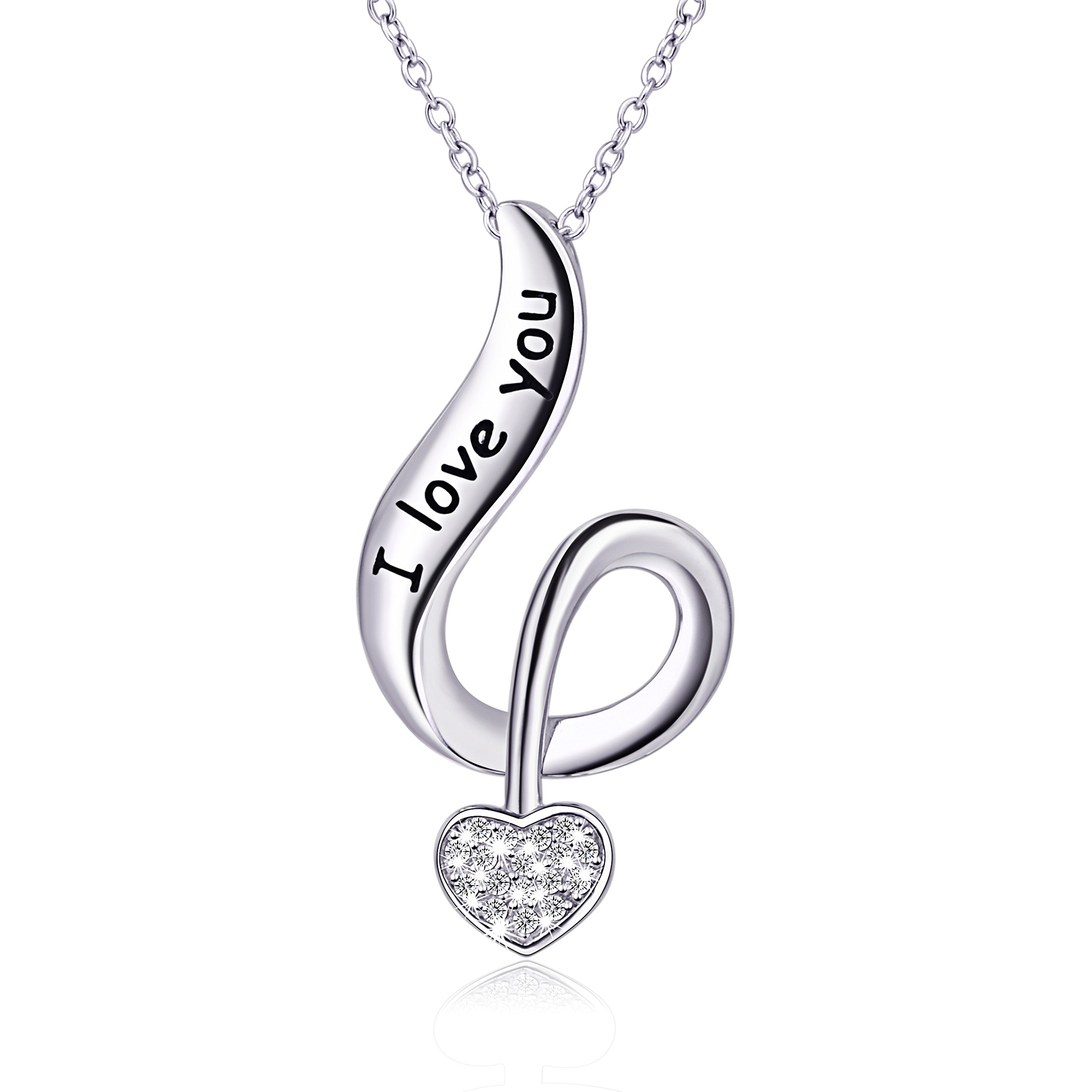 925 Sterling Silver Falling into Your Heart ''I Love You'' Pendant Necklace, Rolo Chain