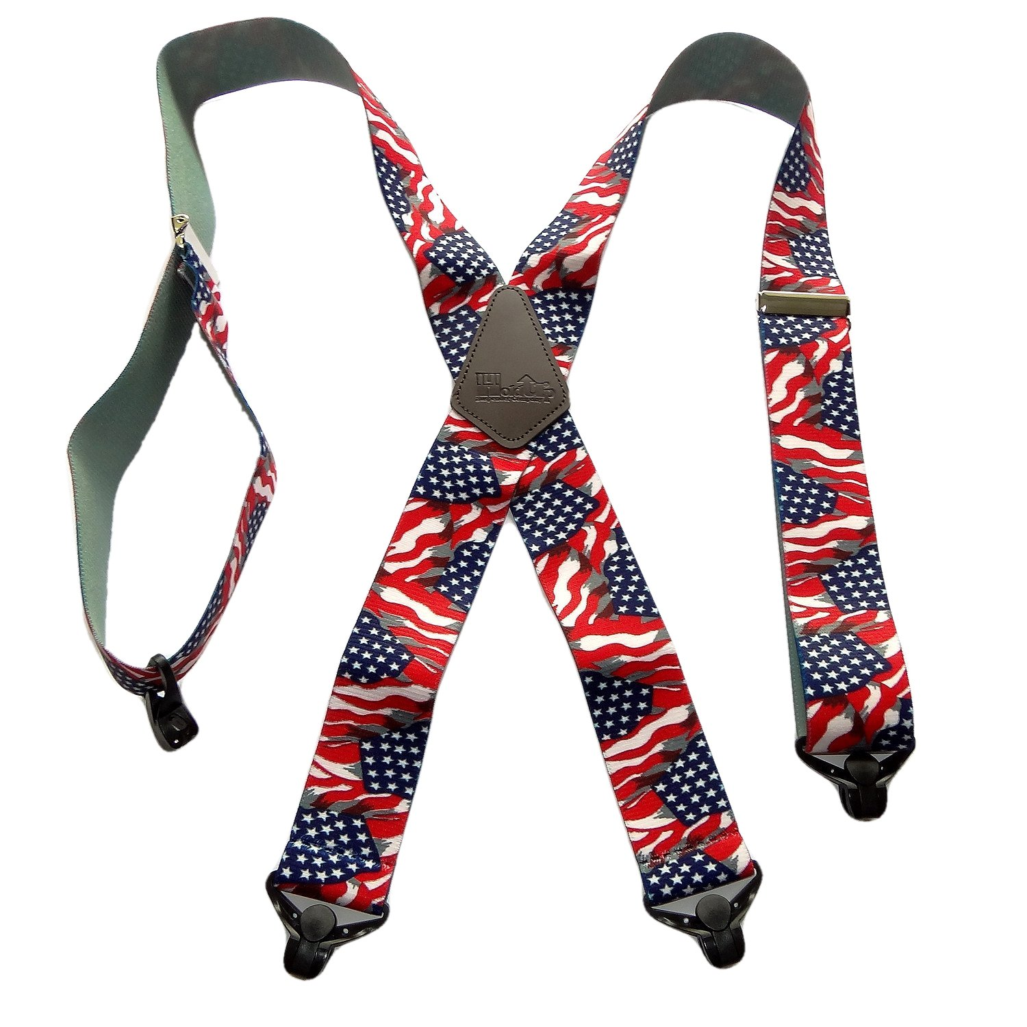 Holdup Suspender Company's Heavy Duty US Flag 2'' Wide Suspenders with Patented Gripper Clasps