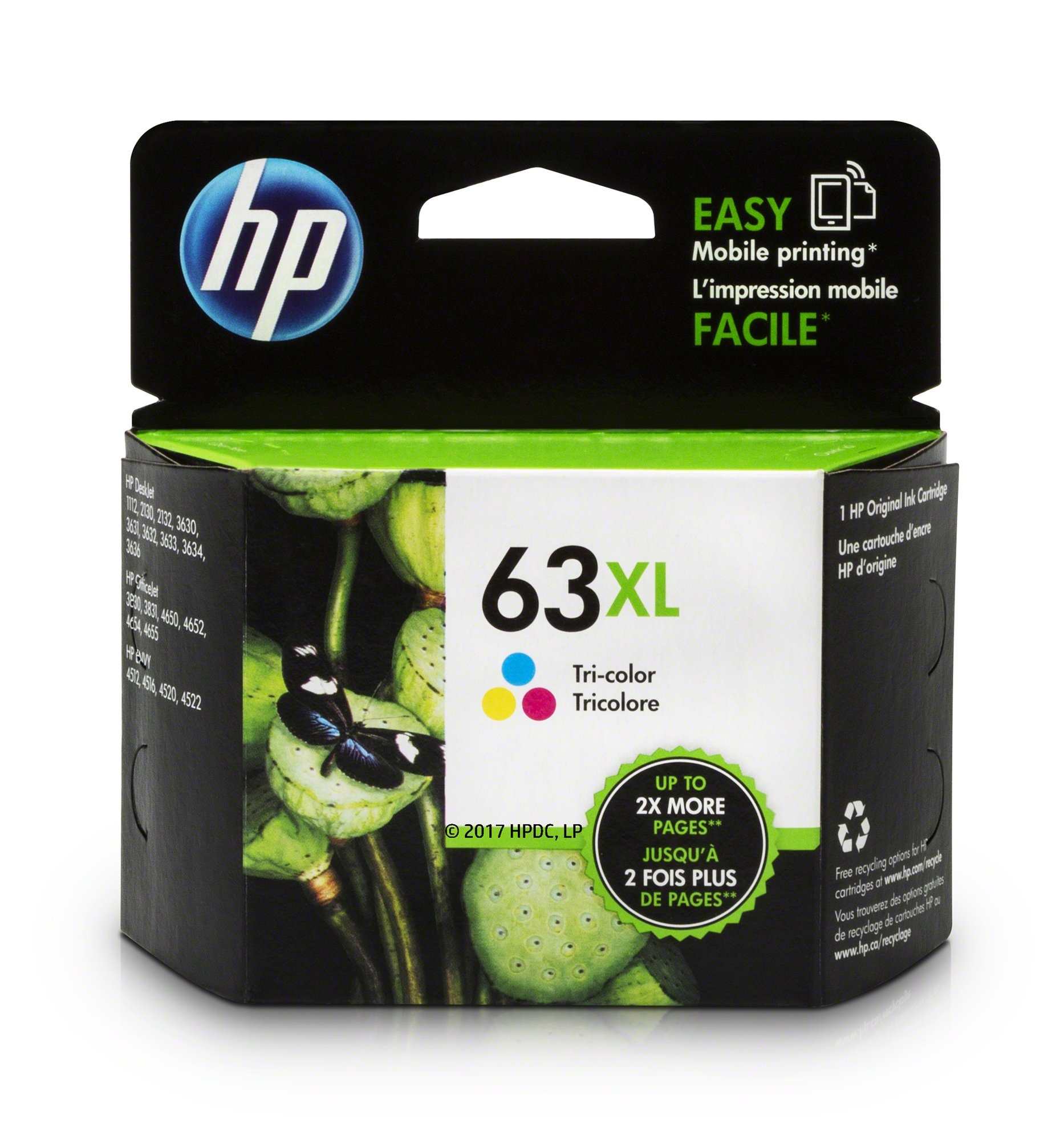 HP 63XL Tri-color High Yield Original Ink Cartridge (F6U63AN) for HP Deskjet 1112 2130 2132 3630 3632 3633 3634 3636 3637 HP ENVY 4512 4513 4520 4523 4524 HP Officejet 3830 3831 3833 4650 4652 4654 4655