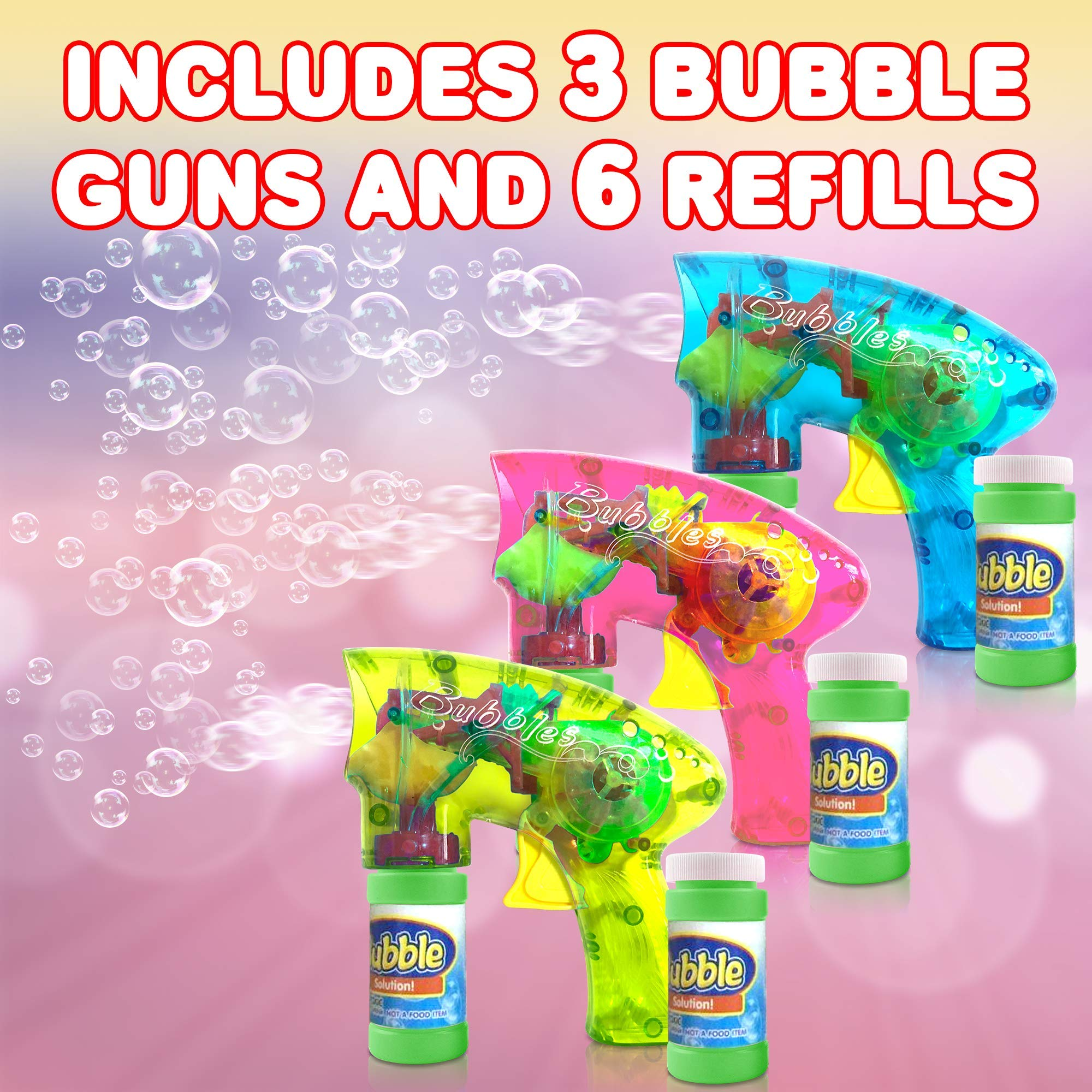 ArtCreativity Friction Powered Light Up Bubble Blaster Set (Set of 3) | Includes 3 LED Bubbles Guns & 6 Bottles of Bubble Fluid | Outdoor, Indoor Fun | Gift Idea, Party Activity | No Batteries Needed by ArtCreativity (Image #3)