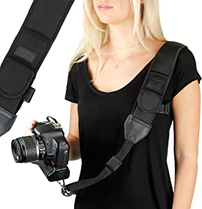 USA GEAR Camera Sling Shoulder Strap with Adjustable Black Neoprene, Safety Tether, Accessory Pocket, Quick Release Buckle - Compatible with Canon, Nikon, Sony and More DSLR and Mirrorless Cameras