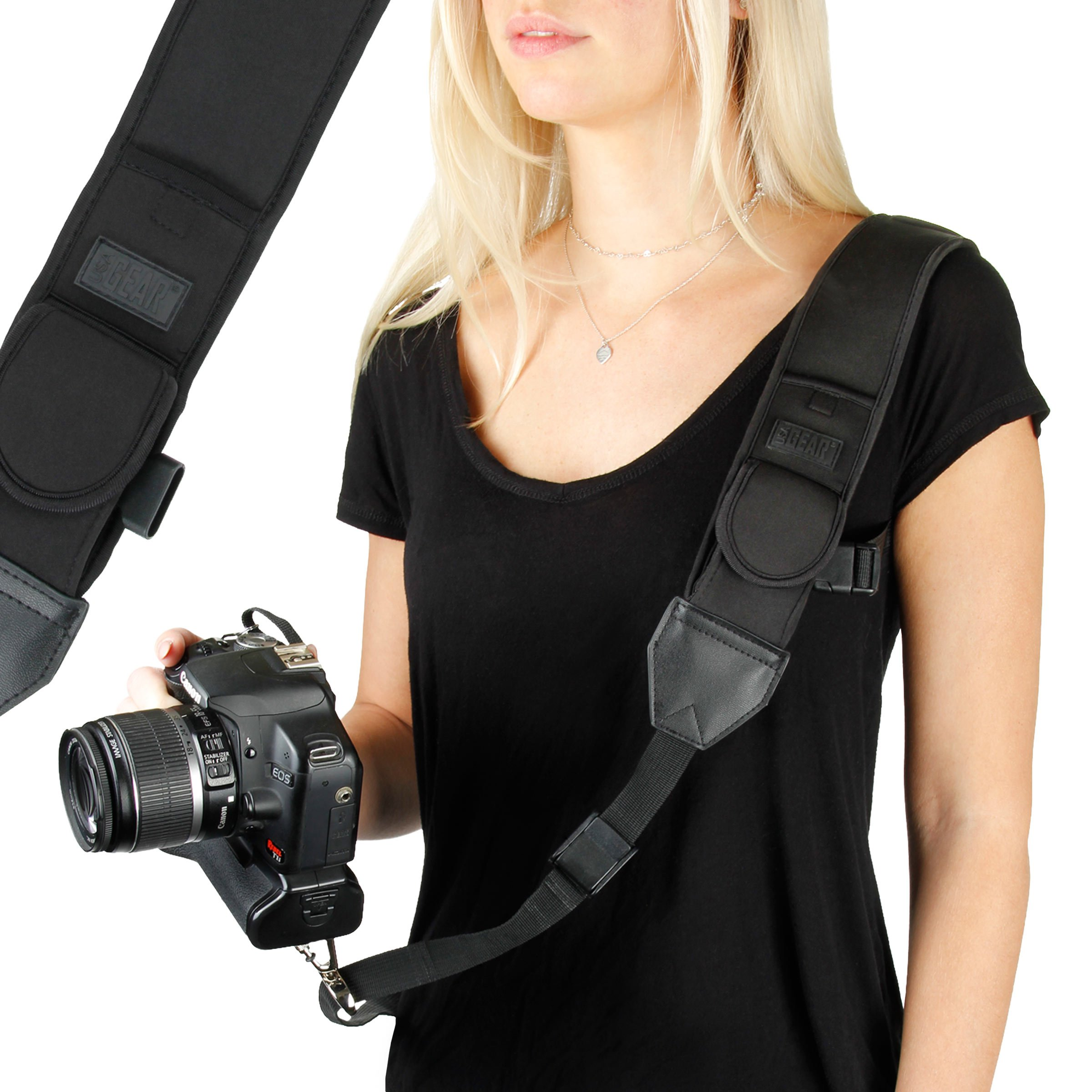 Camera Strap Shoulder Sling with Adjustable Black Neoprene, Accessory Pocket, Quick Release Buckle by USA Gear - Works with Canon, Fujifilm, Nikon, Sony and More DSLR, Mirrorless Cameras