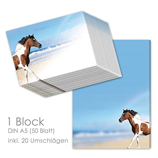 zwei Pferde Motivpapier Briefpapier 100 Blatt DIN A4 Mädchen Kinder Pony Pferd