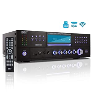 4 Channel Wireless Bluetooth Amplifier - 3000 Watt Stereo Speaker Home Audio Receiver w/FM Radio, USB, 2 Microphone w/Echo for Karaoke, Front Loading CD DVD Player, LED, Rack Mount - Pyle PD3000BA